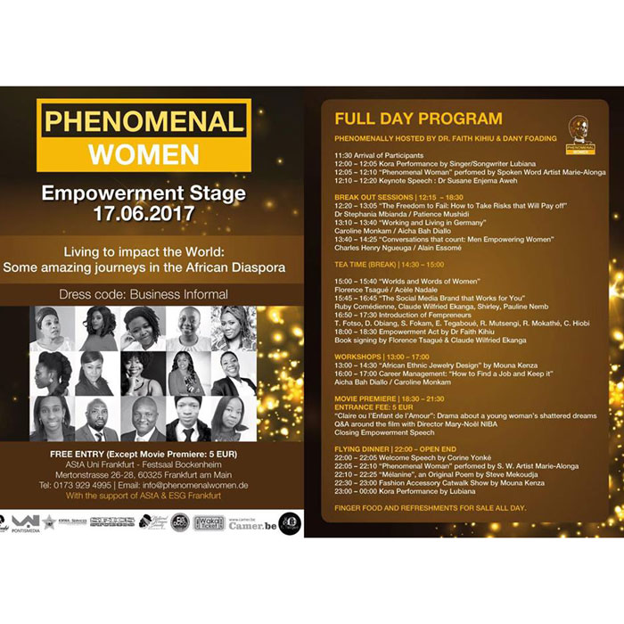 """ALLEMAGNE :: Invitation to the """"Phenomenal Women 2017"""", the Annual Empowerment Stage, on June 17th at Francfurt am Main :: GERMANY"""