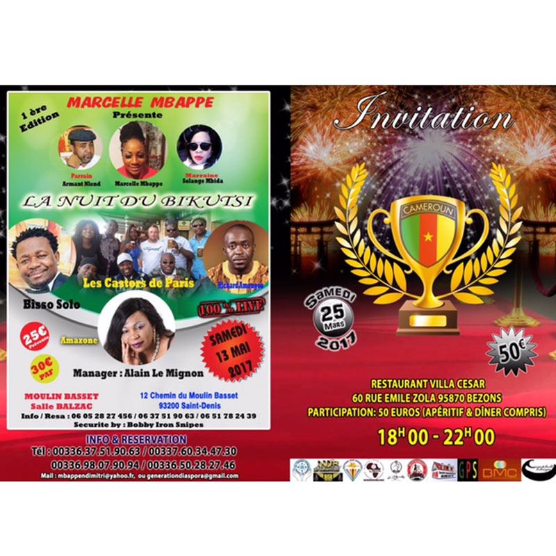 France- Cameroun- Diaspora:INVITATION CAMER DIASPORA AWARDS 2017