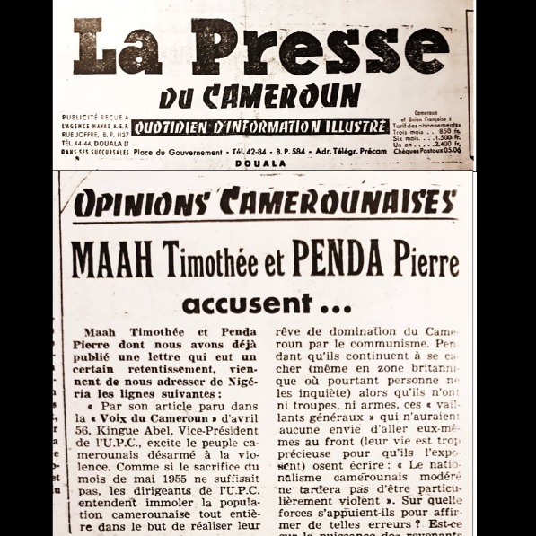 1956-1959 : QUAND MAAH TIMOTHÉE, PENDA PIERRE  CRITIQUAIENT VIOLEMMENT FELIX MOUMIÉ