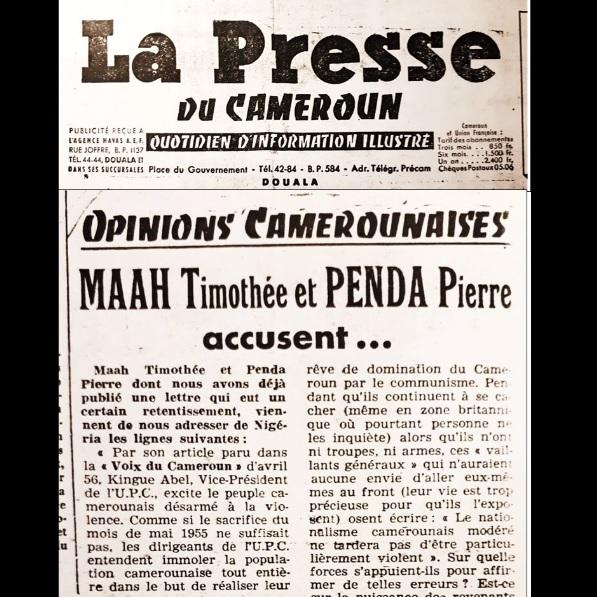 1956-1959 : QUAND MAAH TIMOTHÉE, PENDA PIERRE  CRITIQUAIENT VIOLEMMENT FELIX MOUMIÉ