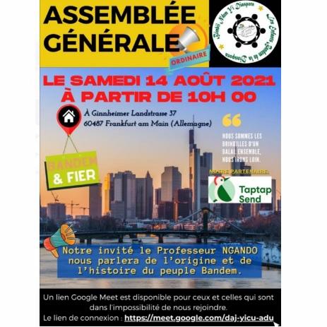 Assemblée générale de la Diaspora BANDEM à Francfort ce samedi 14 août 2021 pour des causes nobles