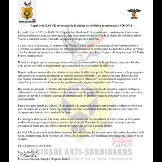 Appel de la BAS UK au boycott de la chaîne de télévision camerounaise VISION 4