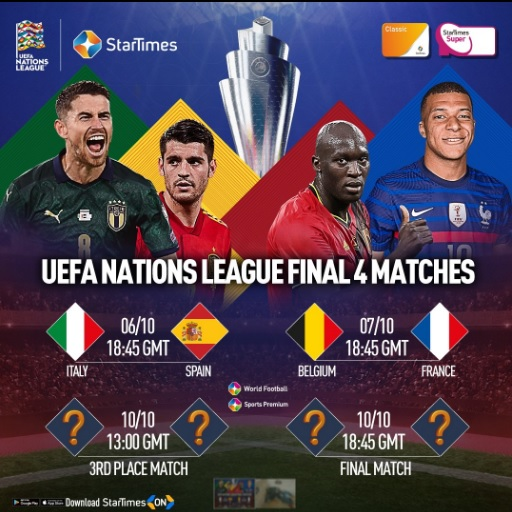 UEFA Nations league preview-heavyweight line-up for Nations League Finals live on Startimes