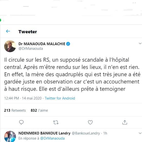 Décès des quadruplés à  Yaoundé:Le ministre de la santé tente d' étouffer l'affaire