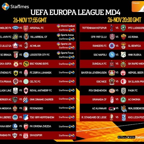 Watch UEFA Europa League on Startimes : Arsenal and Leicester a win away from the knock-out stage