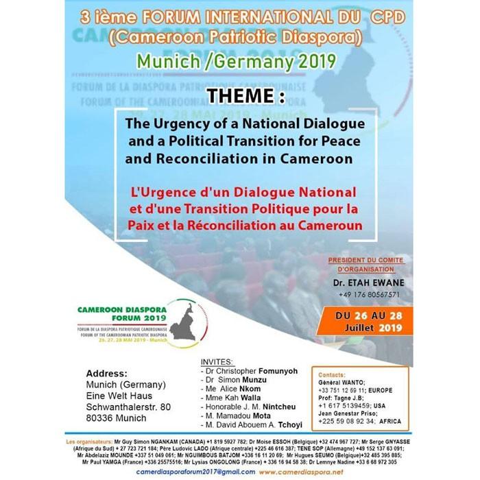 Troisième Forum International du Cameroon Patriotic Diaspora (CPD) Munich, 26-28 juillet 2019
