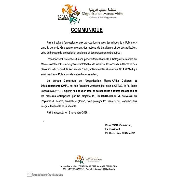 L'ORGANISATION MAROCO-AFRIKA CAMEROUNAIS CONDAMNE LES VIOLENCE DANS LA ZONE MAROCAINE DE GUEGARATE
